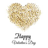 Valentine`s greeting card with golden sparkle heart on white background. Vector. Valentine`s greeting card with golden sparkle heart on white background. Vector Stock Photos