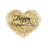 Valentine`s greeting card with golden sparkle heart on white background. Vector. Valentine`s greeting card with golden sparkle heart on white background. Vector Stock Image