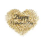 Valentine`s greeting card with golden sparkle heart on white background. Vector. Valentine`s greeting card with golden sparkle heart on white background. Vector Royalty Free Stock Photos