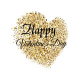 Valentine`s greeting card with golden sparkle heart on white background. Vector. Valentine`s greeting card with golden sparkle heart on white background. Vector Stock Photo