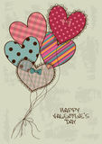 Valentine's greeting card with heart air balloons Royalty Free Stock Photography