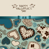 Valentine's greeting card with heart pattern Stock Photo