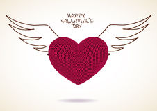Valentine's greeting card of knitted heart with wings Stock Images