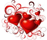 Valentine's greeting card with red heart Stock Photos