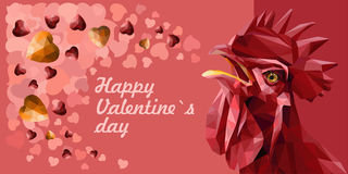 Valentine`s greeting card with red rooster and red, yellow gemstones hearts. Stock Images