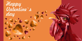 Valentine`s greeting card with red rooster and red, yellow gemstones hearts. Royalty Free Stock Photography