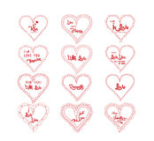 Valentine's greeting in hearts doodle frame set Royalty Free Stock Photography