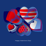 Decorated hearts greetings card Royalty Free Stock Photography