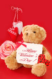 Valentine`s greetings from teddy bear Royalty Free Stock Image
