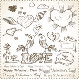 Valentine`s hand-drawn elements Stock Photo