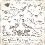 Valentine`s hand-drawn elements Stock Photo