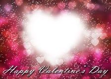 Valentine& x27; s hart bokeh op donkere roze achtergrond Royalty-vrije Stock Afbeeldingen