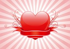 Valentines heart. Vector illustration of shine red heart, ornament and ribbon on abstract background with radial rays Stock Image