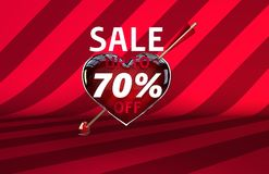 Valentine`s day arrow heart sale banner. Valentine`s heart arrow sale discount up to 70 Stock Photo