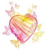 Valentine's heart and butterfly Royalty Free Stock Images