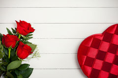 Valentine's: Heart Candy Box and Flowers Stock Photos