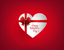 Valentine`s heart card form with red bow Stock Photos
