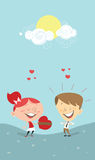 Valentine's heart, girl giving a gift to a boy Stock Photos