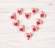 Valentine's heart made of sweet pink gum candies, Valentine's Da Stock Photography