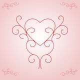 Valentine's Heart Outline - Pink Gradient. Illustration of a heart outline, centred and supported by ornate, yet contemporary, scrolls.  Soft pink and white Stock Image