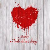 Valentine`s heart painted with red paint Stock Photo