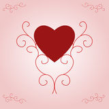 Valentine's Heart on Pink Gradient. Illustration of a red filled heart, centred and supported by ornate, yet contemporary, scrolls.  Pink and white gradient Stock Image