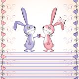 Valentine's heart vector card. Baby rabbit. Stock Images