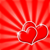 Valentine's Hearts. Romantic love hearts couple on red shining background Stock Images