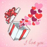 Valentine's hearts fly gift box Stock Images