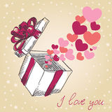 Valentine's hearts fly gift box. Valentine's hearts fly out of the gift box hand drawn retro card vector illustration