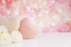 Valentine's hearts and roses with a bright background Royalty Free Stock Image