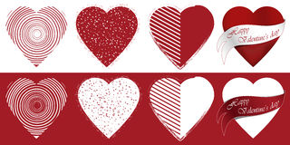 Valentine's hearts. Set of eight Valentine's hearts with different patterns Stock Photo