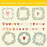 Valentine`s hearts and wreaths. Vector set for design greeting cards stock illustration