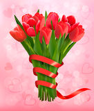 Valentine's holiday background with bouquet of pink flowers Royalty Free Stock Image
