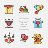 Valentine's_icons_illustrations_set1_fill线 免版税库存照片