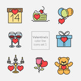 Valentine's_icons_illustrations_set1_fill lijn Royalty-vrije Stock Foto
