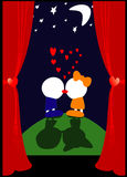 VALENTINE'S KISS. An illustration of a young couple kissing each other in the night Stock Images