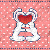 Valentine's kissing rabbits vintage card Stock Photography