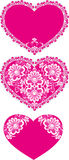 Valentine's lace. A set of valentines decorated with lace flowers Royalty Free Stock Photos