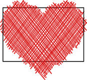 Valentine`s love background with heart. Valentine`s love background with red pictured heart. Vector paper illustration Stock Photo