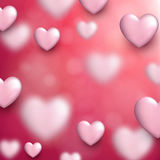 Valentine`s love background with hearts. Valentine`s pink love background with 3d hearts. Vector illustration Royalty Free Stock Photography