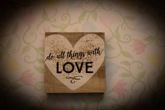 Valentine`s Love Wooden Block on Tulip Background royalty free stock photography