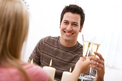 Valentine's: Man Having Champagne At Romantic Dinner Royalty Free Stock Photos