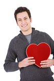 Valentine's: Man Holding Red Velvet Candy Box Stock Photography