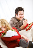 Valentine's: Man Sneaking Girl's Candy When She Isn't Looking Stock Photo