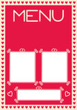 Valentine's Menu Template With Heart Borders Royalty Free Stock Image