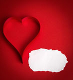 Valentine's paper hearts on a red background Royalty Free Stock Photography