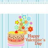Valentine`s party flowers and delicious cakes Royalty Free Stock Image