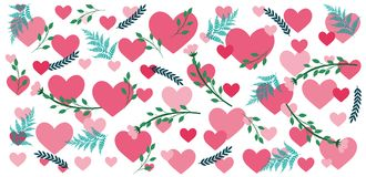 Valentine`s pattern with hearts and flowers. Sweet valentine`s pattern with hearts and flowers in blue and pink colors Royalty Free Stock Image