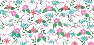 Valentine`s pattern with hearts and flowers. Sweet valentine`s pattern with hearts and flowers in blue and pink colors Stock Image